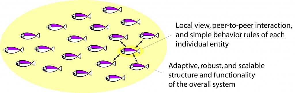 Fish shoal as an example of a self-organizing system.