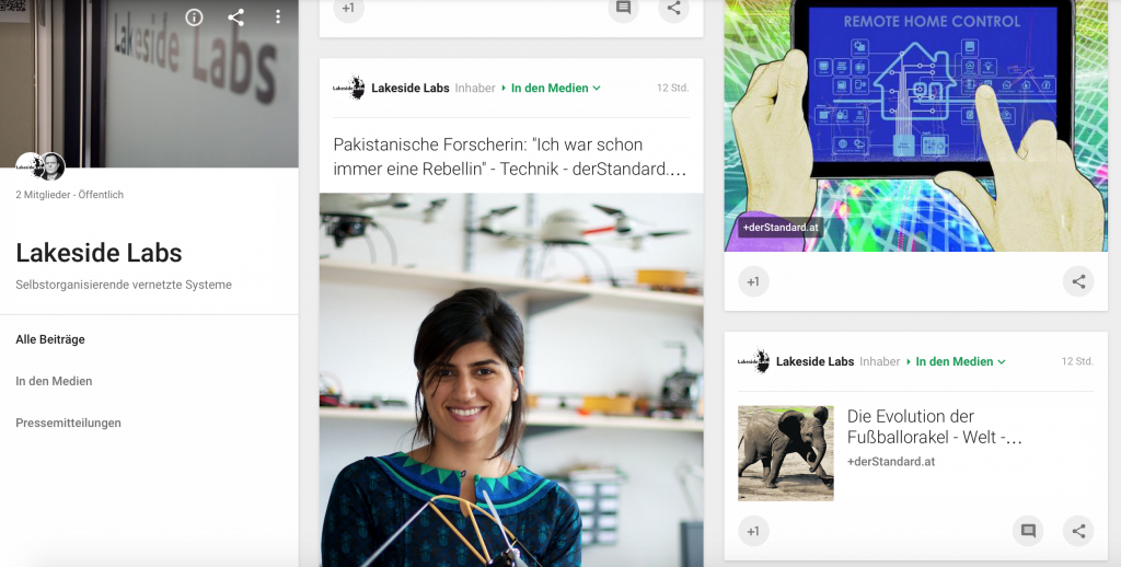 Google+ account with media coverage and press releases in German language.